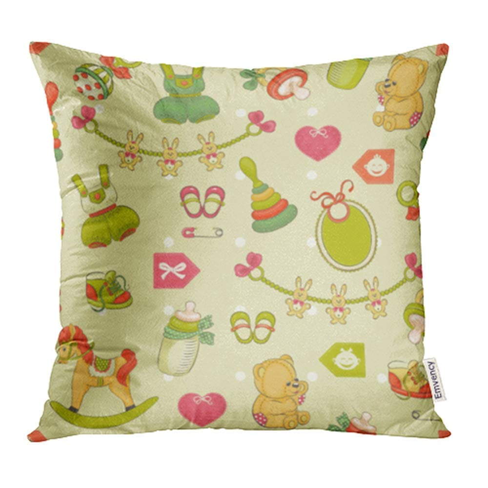 ARHOME Green Arrow Baby Pattern Pink Kids Bottle Children Footwear Heart Horse Little Pillowcase Cushion Cover 20x20 inch