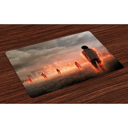 Zombie Placemats Set of 4 Group of People in a Flame in the Water under Storm Clouds Image, Washable Fabric Place Mats for Dining Room Kitchen Table Decor,Pearl Egg Shell Vermilion, by Ambesonne - Groups Of 4 People