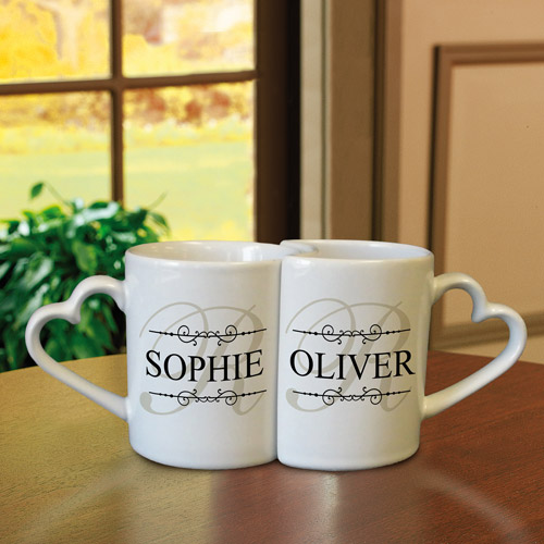 Personalized Interlocking Heart Mugs, Available in 5 Styles