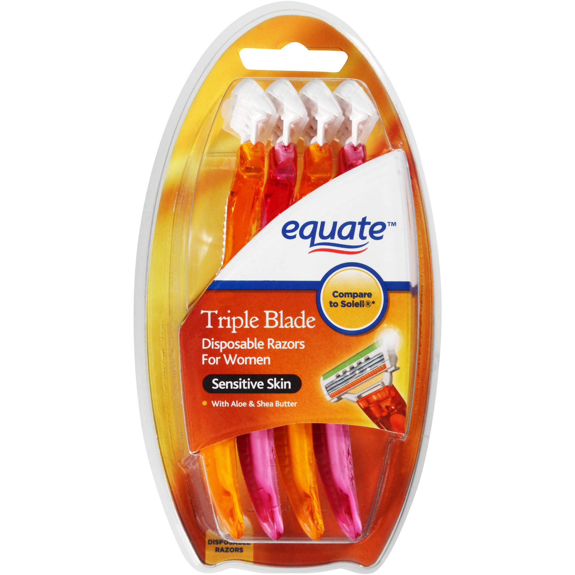 Equate Sensitive Skin Triple Blade Disposable Razors for Women, 4 count