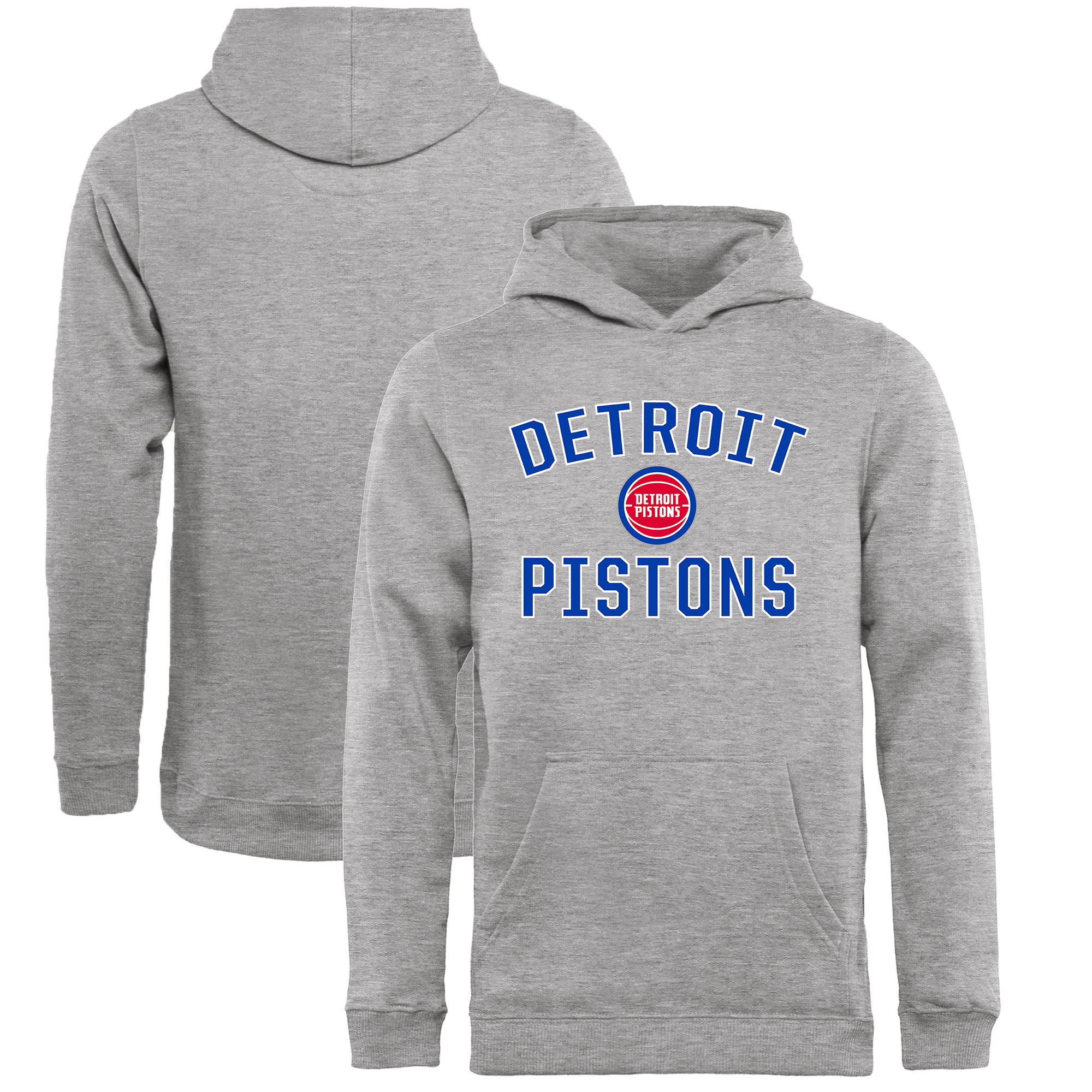 Detroit Pistons Fanatics Branded Youth Victory Arch Pullover Hoodie - Heathered Gray