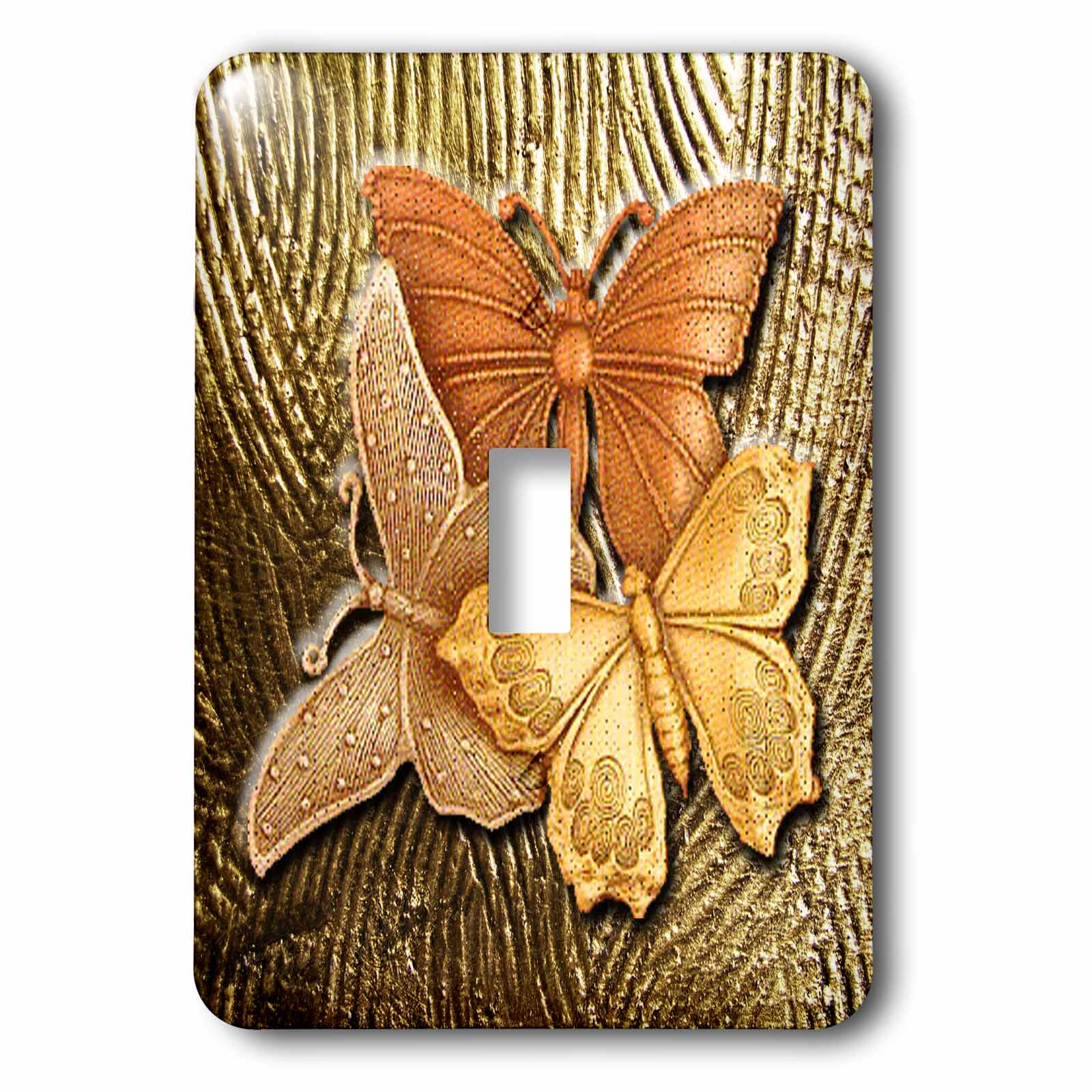3dRose Gold Embossed background with accents and three beautiful butterflies in golds, yellows and copper., 2 Plug Outlet Cover