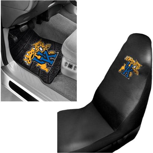 NCAA Kentucky 2 pc Front Floor Mats and Kentucky Car Seat Cover Value Bundle