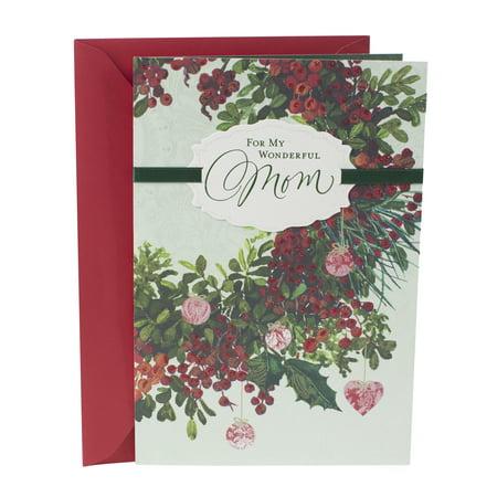 Hallmark Christmas Card for Mom (Floral Wreath) for $<!---->