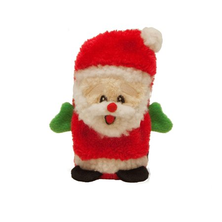 Outward Hound 2791 Invincibles Plush Santa Stuffingless Dog Toys Squeaker Toy 1-Squeaker, Small, Red, Holiday plush toy for dogs By Kyjen