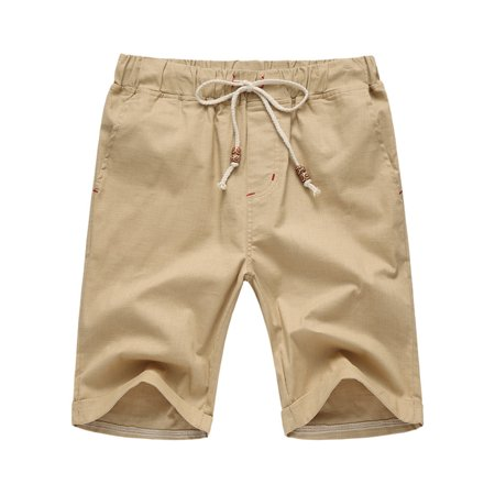 Men's Casual Solid Color Drawstring Waist Flax Straight Half Pans Beach Breeches (Sale Breeches)