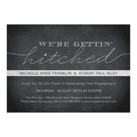Personalized Wedding Engagement Party Invitation - Getting Hitched - 5 x 7 Flat](Halloween Engagement Party Invitations)