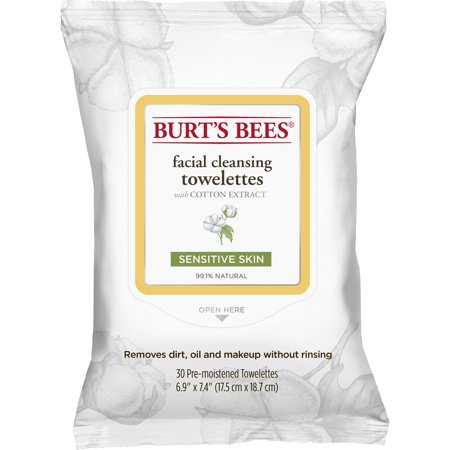 - Burt's Bees Facial Cleansing Towelettes for Sensitive Skin, 30 ct