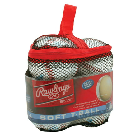 Rawlings Mesh Bag of Soft T-Ball Baseballs, 6 Pack