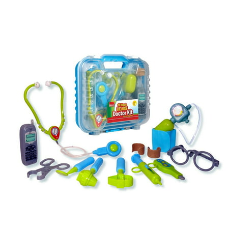 Durable Kids Doctor Kit with Electronic Stethoscope and 12 Medical Doctor's Equipment, Packed in a Sturdy Gift - Children's Doctor Kit