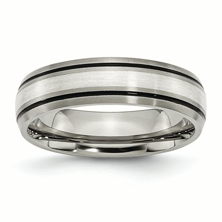 Titanium Grooved 925 Sterling Silver Inlay 6mm Brushed/ Wedding Ring Band Size 10.50 Precious Metal Fine Jewelry Ideal Gifts For Women Gift Set From Heart Ladies Brushed Metal