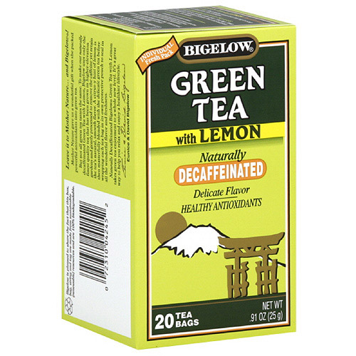 Bigelow Naturally Decaffeinated Green Tea With Lemon, 20ct (Pack of 6)
