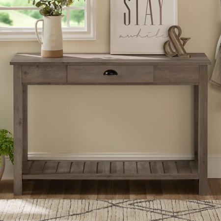 Manor Park Rustic Country Console Table - Grey Wash
