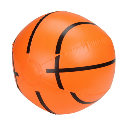 "Pool Central 16"" Inflatable 6-Panel Beach Basketball Swimming Pool Toy - Orange/Black"