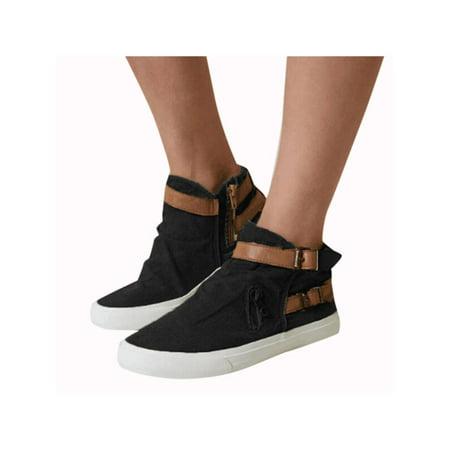 Vintage Women Ladies Casual Flat Sneakers Zip Up Buckle Work Pumps Shoes
