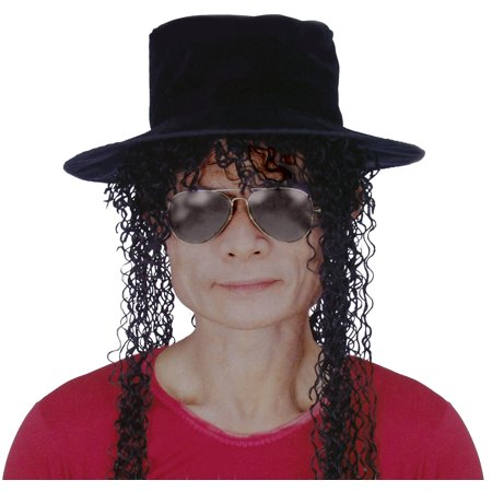 Star Power Adult Legend Michael Hat Wig Glasses 3pc Accessories, Black, O/S](Star Legends Halloween Event)