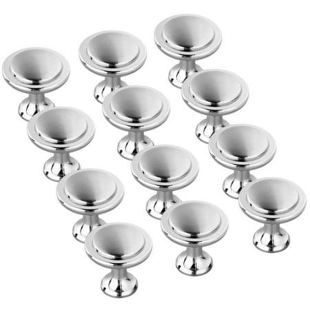 12x Satin Nickel Kitchen Cabinet Knob Round Drawer Door Pull Handles Silver Adjustable Cabinet Knobs