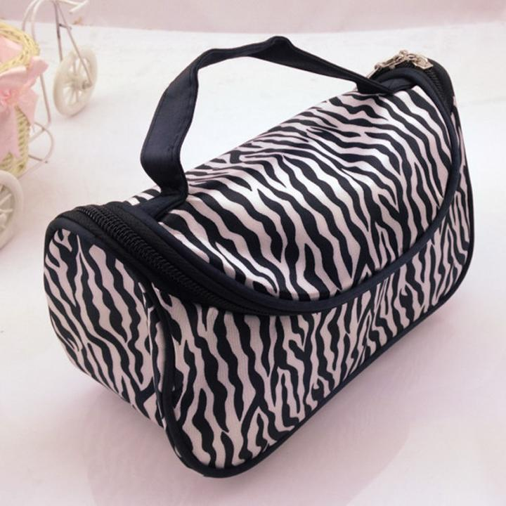 Christmas Clearance  Lady Makeup Case Toiletry Holder Storage  Zebra Cosmetic Nail Art Tool Bag  HFON