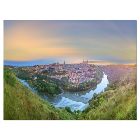 DESIGN ART Designart 'Panoramic View of Ancient City Castilla la Mancha' Landscapes Cityscapes Photographic on wrapped Canvas - Green ()