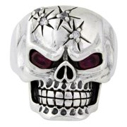 Hellfire Jewelry Sterling Silver Four Shots of Wisdom Garnet Cubic Zirconia Eyes Skull Ring