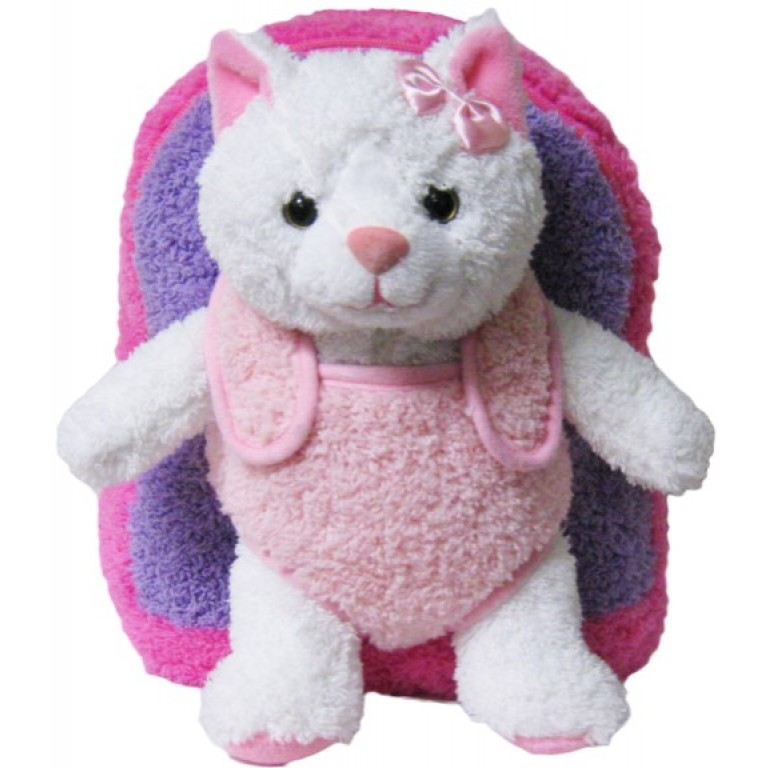 Kids Pink Kitty Cat Animal Plush Toddlers Backpack