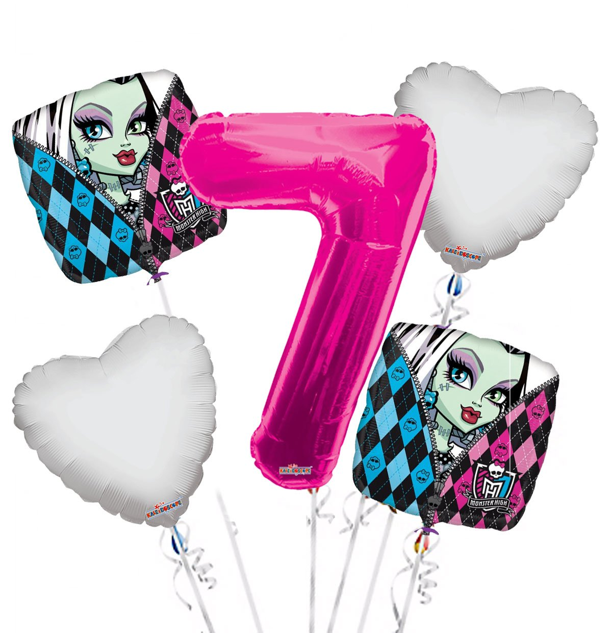 Monster High Balloon Bouquet 7th Birthday 5 pcs - Party Supplies, 1 Giant Number 7 Balloon, 34in By Viva Party