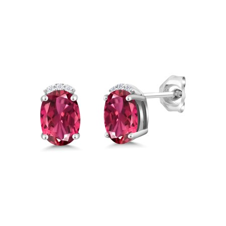 1.78 Ct Oval Pink Tourmaline 925 Sterling Silver Earrings