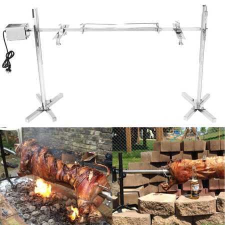 On Clearance Stainless Steel Large Charcoal Grill 150 Ib Capacity Campfire Rotisserie Spit Roaster Rod BBQ Pig Chicken 15W Motor Camping Kit Grill Cookware Outdoor Supplies ()