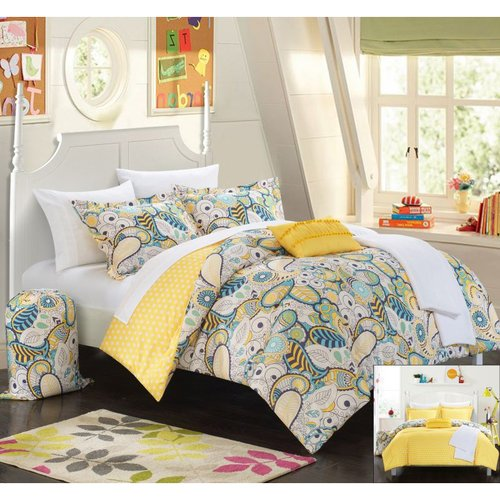10 Piece Duchess Paisley and Polka Dot printed REVERSIBLE Comforter Set Includes Sheets, Duffle Hamper and Fleece Throw