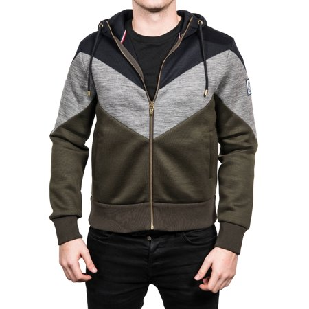 Moncler Men's Tri-Color Zip Up Hooded Sweatshirt Jacket