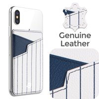 Stick-On Genuine Leather Card Holder Adhesive ID Business Credit Card Cash Cell Phone Wallet by Cobble Pro for Apple iPhone XS X 8 7 6s Plus SE LG Stylo G6 Samsung Galaxy S9 S9+ S8 S8+ New York White