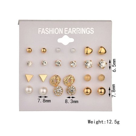 outdoorline 12 Pairs Rhinestone Geometric Shaped Women Girl Earrings Ear Studs Alloy Earrings Jewerly - image 6 de 9