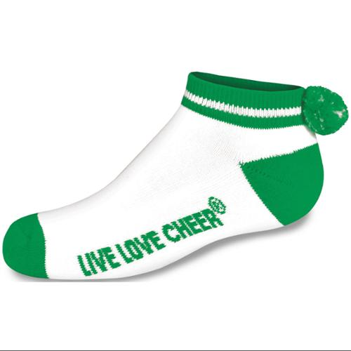 Chasse Girls' Cheerleading Low Ankle Pom Socks - Kelly Youth Size - 12-4