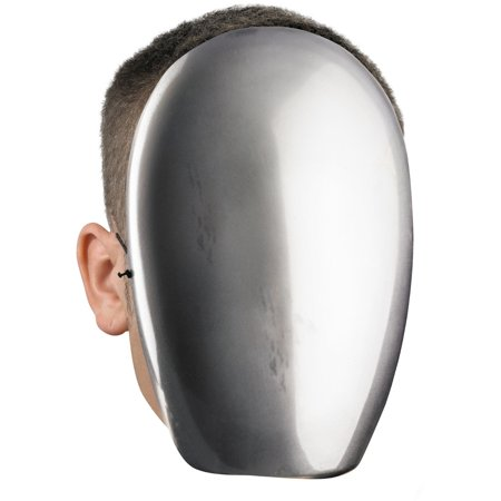 Men's Male Blank No Face Silver Chrome Halloween Costume Face Mask Facemask