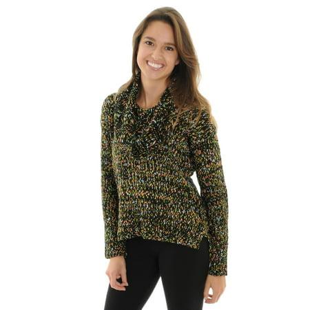 Womens Cowl Neck Sweater Green Orange Black Pullover Long Sleeve Sweater Hi Low