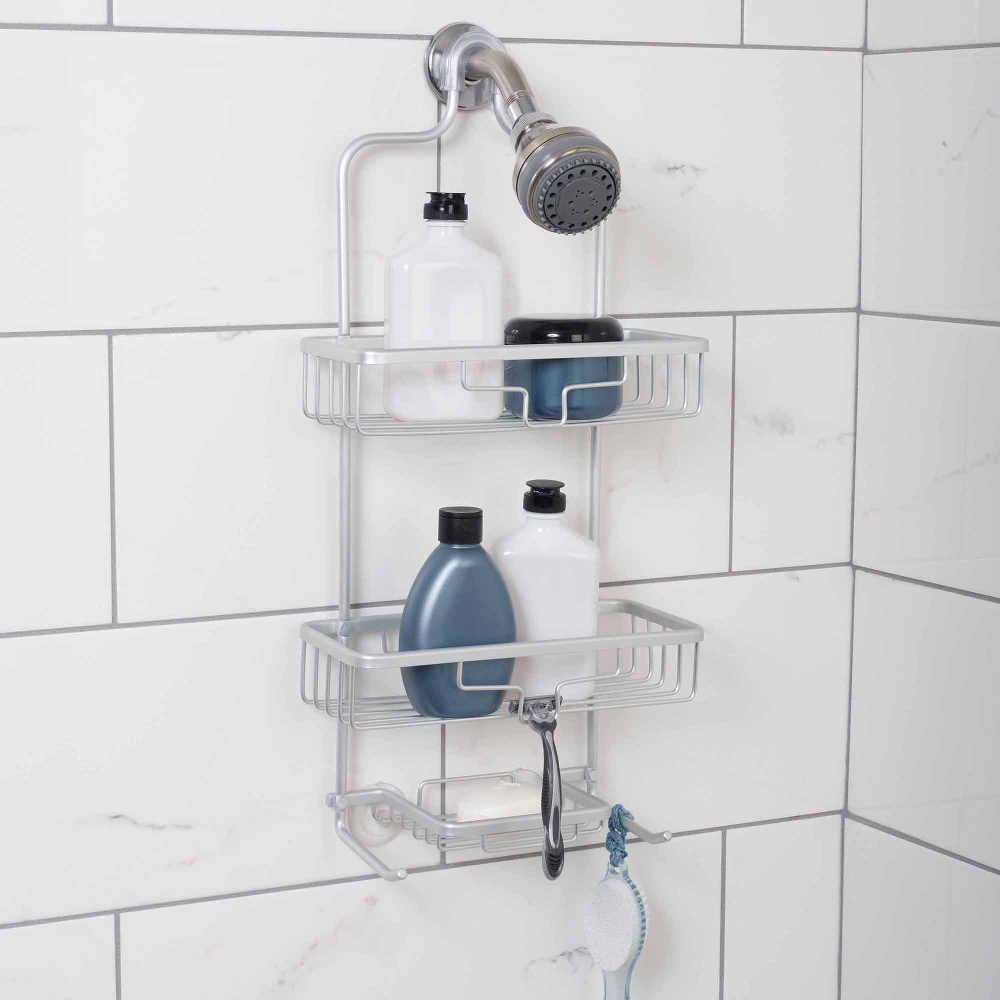 Zenna Home NeverRust Aluminum Shower Caddy with 2 Bucket Shelves, Satin Chrome by Zenith Products Corp