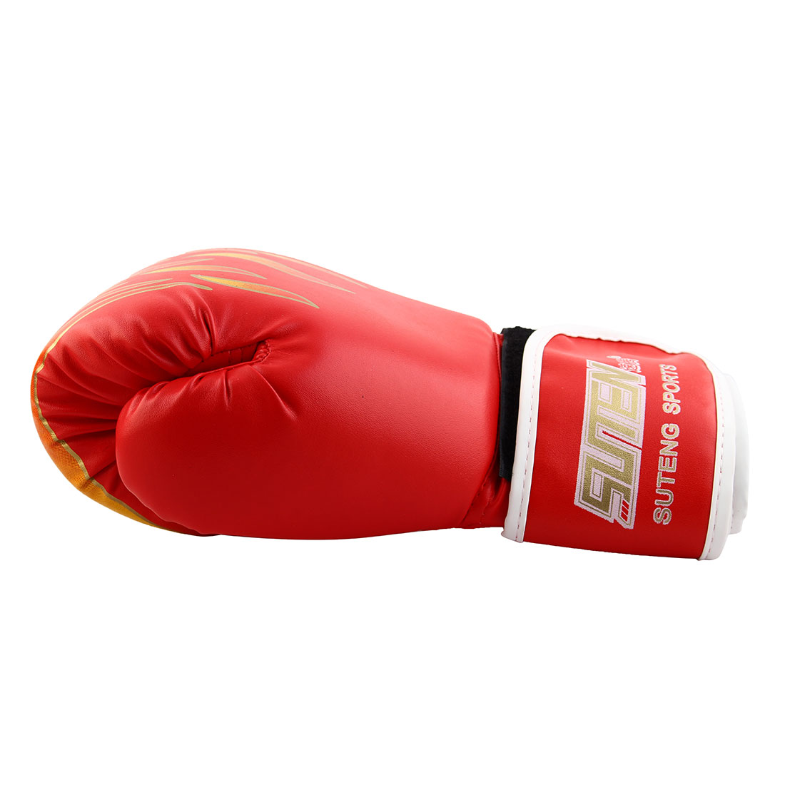 SUTENG Authorized Adult PU Fire Print Sparring Punching Bag Mitts Kickboxing Boxing Gloves Pair Red - image 1 de 3