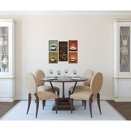 Gango Home Decor Retro Coffee Cup & Quote Kitchen Wall Art; Five Multi-Color 8x10, 8x18in Unframed Paper Prints Dining Decor Art Print