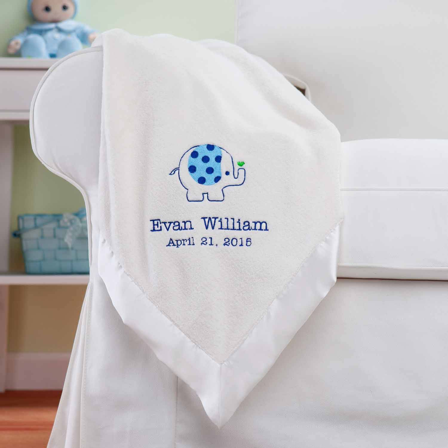 Personalized Sweet Elephant For Him Cream Baby Blanket