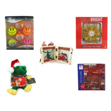Christmas Fun Gift Bundle [5 Piece] - Krebs Bright Neon Glass Ornaments Set of 6 - Deck The Halls Lighted Burst Gold Tree Topper - Santa's Here Story House Resin Figurine -  Santa Frog  Gift Card Ho](Toppers Coupon Codes)