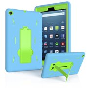 """EpicGadget Case for Fire HD 8 (8th and 7th Generation, 2018 and 2017 Release) Amazon Fire HD 8"""" Heavy Duty Hybrid Case Cover with Kickstand for Fire HD 8"""" and 1 Fire 8 HD Screen Protector (Blue/Green)"""