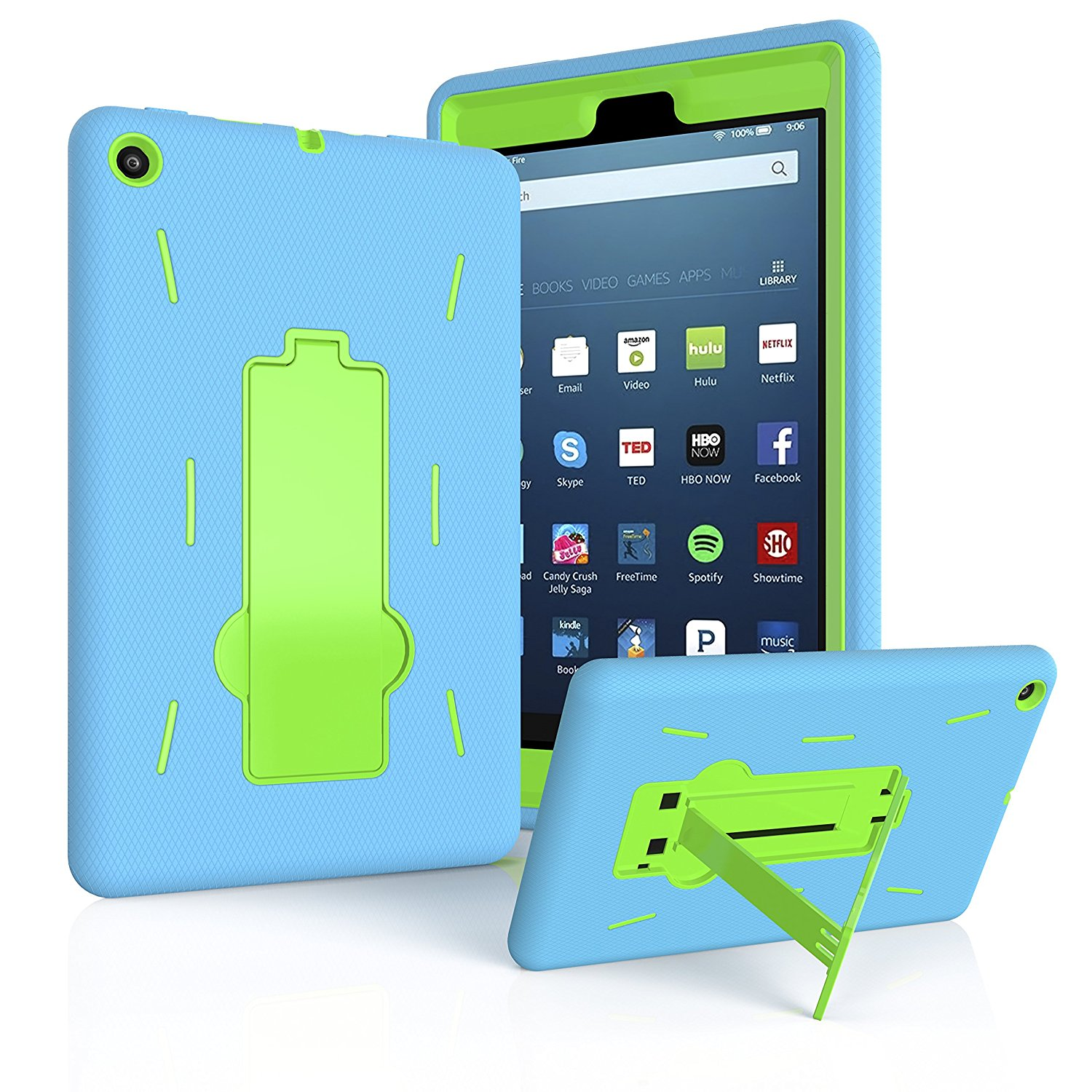 "Fire HD 8 Case 2017, EpicGadget(TM) 2017 7th Generation Amazon Fire HD 8"" Heavy Duty Hybrid Case Full Body Cover with Kickstand For Fire HD 8"" Display + 1 Fire 8 HD Screen Protector (Blue/Green)"
