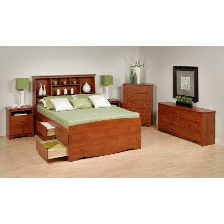 prepac monterey 5 piece tall queen bedroom set in cherry