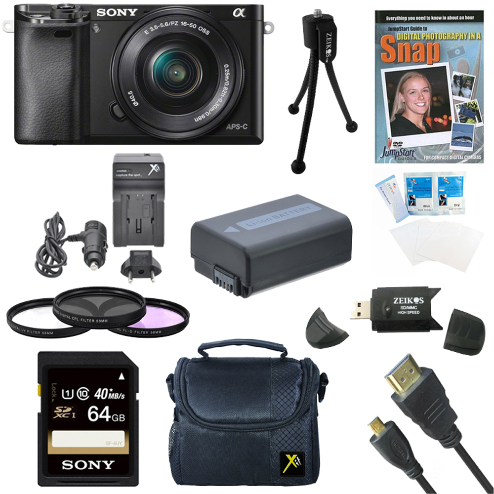 Sony a6000 ILCE6000LB ILCE-6000L/B ILCE6000 Alpha a6000 24.3 Interchangeable Lens Camera with 16-50mm Power Zoom Lens BUNDLE with 64GB Class 10 Card, Spare Battery, Deluxe Padded Case, DVD SLR Guide,