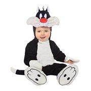 looney tunes sylvester romper costume, white/black, 12-18 months