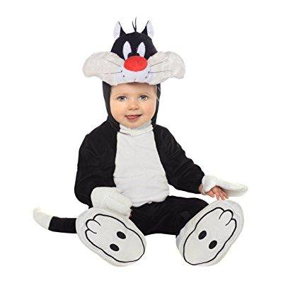 looney tunes sylvester romper costume, white/black, 12-18 months](Looney Tunes Halloween Costume)