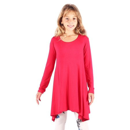 Girls Handkerchief (Lori&Jane Girls Coral Solid Color Long Sleeved Hanky Hem Tunic)