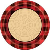 Buffalo Plaid Lumberjack Paper Dinner Plates, 9in, 8ct