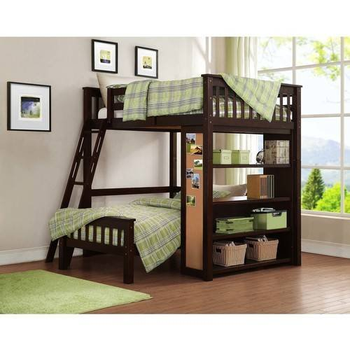 Whalen Emily Full Over Twin Wood Bunk Bed With Bookshelf