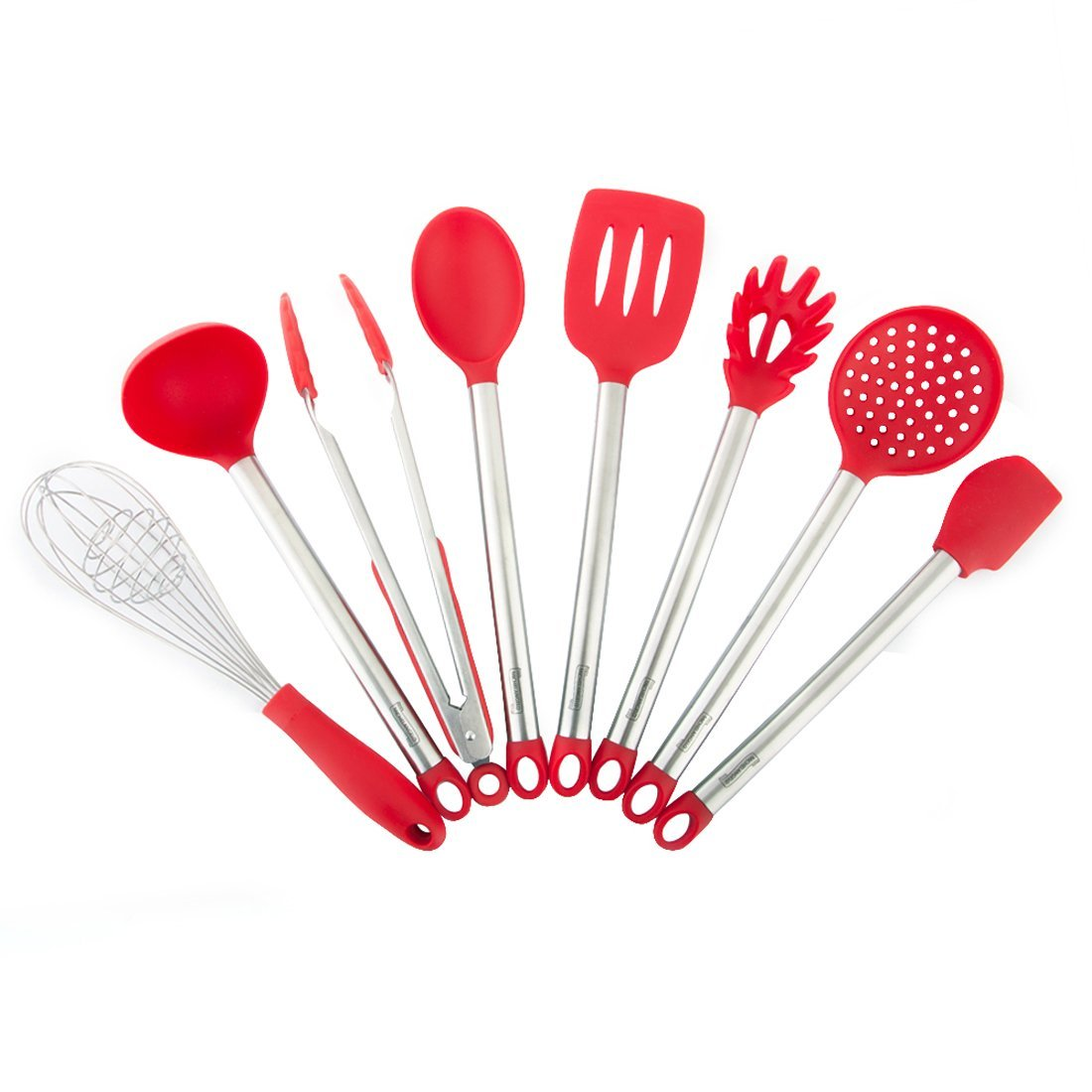 Michelangelo 8-Piece Kitchen Utensils Set - Silicone Heads and Stainless Steel Handles, Heat Resistant - Spoon, Spatula, Ladle, Food Tong, Pasta Server, Skimmer, Slotted Turner and Wisk, Red Color